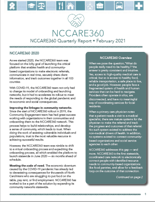 NCCARE360 Quarterly Report – February 2021 Image